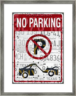 No Parking Sign Retro Recycled Vintage License Plate Art Framed Print
