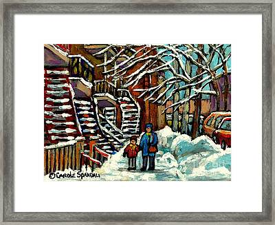 No School Today Out For A Snowy Walk Verdun Winter Winding Staircases Montreal Paintings C Spandau Framed Print
