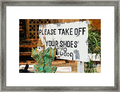 No Shoes Framed Print