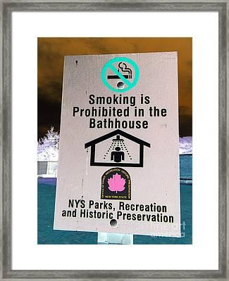 No Smoking In Shower Framed Print