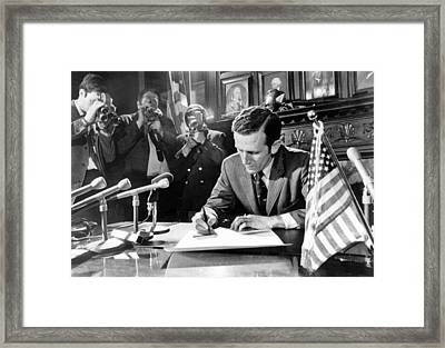 No Soldiers For Vietnam Framed Print by Underwood Archives