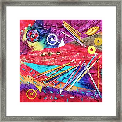 No Time To Lose Silk Collage Framed Print by Alene Sirott-Cope