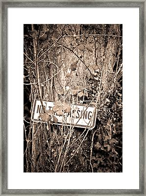 Framed Print featuring the photograph No Trespassing by Erin Kohlenberg