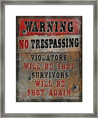 no Trespassing Framed Print by JQ Licensing