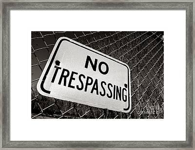 No Trespassing Framed Print by Olivier Le Queinec