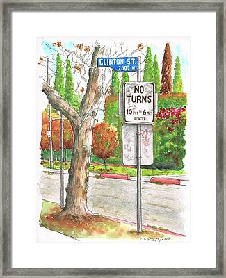 No Turn Sign In Clinton Street - West Hollywood - California Framed Print