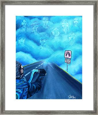 Framed Print featuring the painting No U Turn In Blue by The GYPSY And DEBBIE