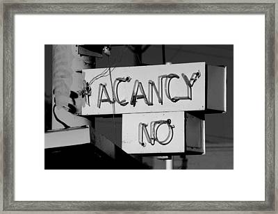 Framed Print featuring the photograph No Vacancy by Daniel Woodrum