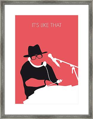 No022 My Run Dmc Minimal Music Poster Framed Print