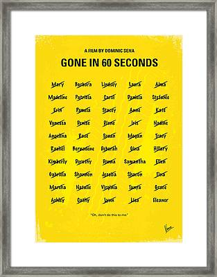 No032 My Gone In 60 Seconds Minimal Movie Poster Framed Print by Chungkong Art