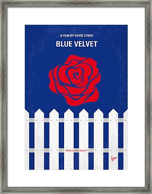 No170 My Blue Velvet Minimal Movie Poster Framed Print