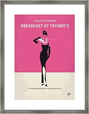 No204 My Breakfast At Tiffanys Minimal Movie Poster Framed Print