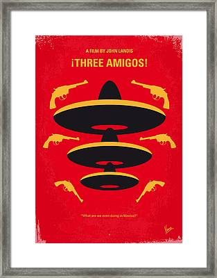 No285 My Three Amigos Minimal Movie Poster Framed Print by Chungkong Art