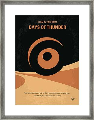 No332 My Days Of Thunder Minimal Movie Poster Framed Print