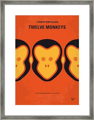 No355 My 12 Monkeys Minimal Movie Poster Framed Print
