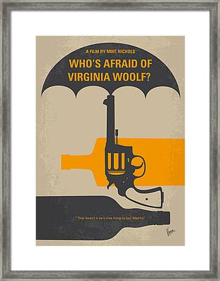 No426 My Whos Afraid Of Virginia Woolf Minimal Movie Poster Framed Print by Chungkong Art