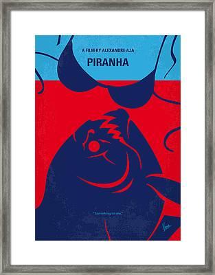 No433 My Piranha Minimal Movie Poster Framed Print