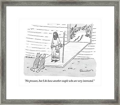 Noah Addresses Two Foxes At The Entrance Framed Print