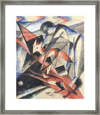 Noah And The Fox Framed Print by Franz Marc