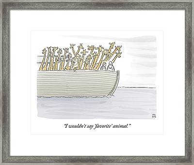Noah In The Ark With All Giraffes Framed Print