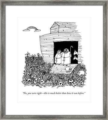 Noah, Speaking Upward To Heaven, Exits The Ark Framed Print by Edward Steed
