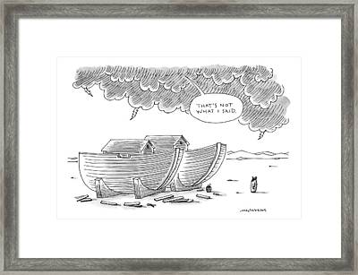 Noah Stands Before Two Boats And A Voice Framed Print