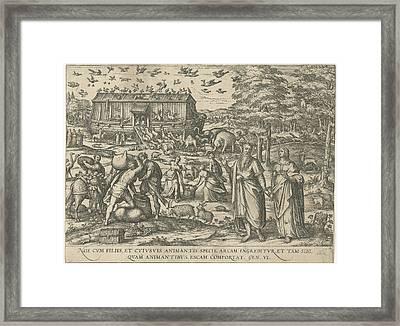 Noahs Ark, Attributed To Symon Novelanus Framed Print by Symon Novelanus