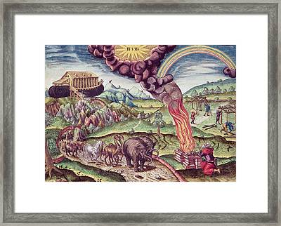 Noahs Ark, Illustration From Brevis Narratio..., Published By Theodore De Bry, 1591 Coloured Framed Print by Th. Bry
