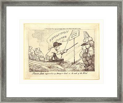 Noahs Ark Improved, Or An Attempt To Land In The Teeth Framed Print