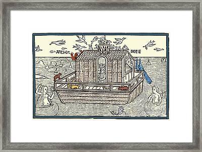 Noahs Ark With Merfolk, 1493 Framed Print