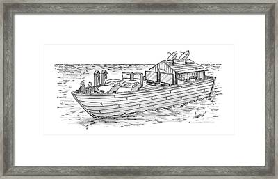 Noah's Ark With Pairs Of Home Appliances Instead Framed Print