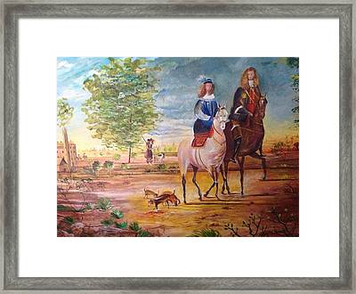 Framed Print featuring the painting Nobel  Knight And Lady by Egidio Graziani