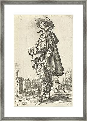 Noble Man With Hat, Seen On The Left, Jacques Callot Framed Print by Jacques Callot And Frederik De Wit Possibly