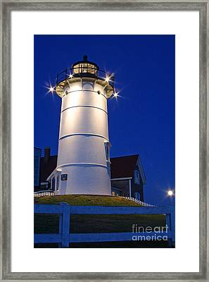 Nobska Light And The Beaver Moon Framed Print by Butch Lombardi