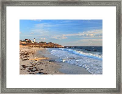 Nobska Lighthouse And Nobska Beach Cape Cod Framed Print by John Burk