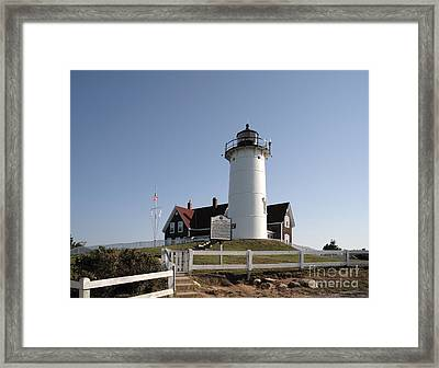 Nobska Lighthouse On Cape Cod At Woods Hole Massachusetts Framed Print by William Kuta