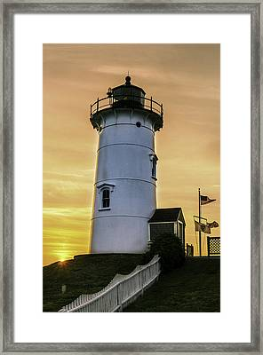 Nobska Lighthouse With Starburst Framed Print by Thomas Schoeller