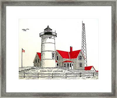 Nobska Point Lighthouse Drawing Framed Print by Frederic Kohli