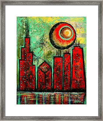 Noche Roja - Red Night - Art By Laura Gomez Framed Print by Laura  Gomez