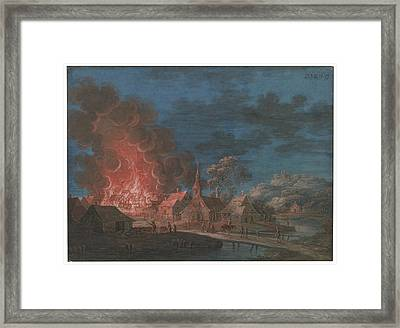 Nocturnal Conflagration In A Small Village Framed Print