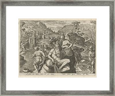 Nocturnal Fishing With A Rod, Philips Galle Framed Print by Philips Galle And Jan Van Der Straet