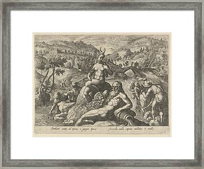 Nocturnal Fishing With Landing Net, Philips Galle Framed Print