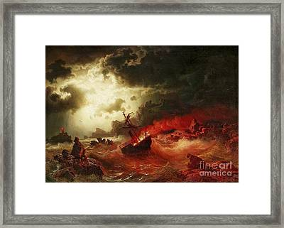 Nocturnal Marine With Burning Ship Framed Print by Pg Reproductions