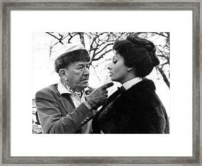 Noel Coward And Sophia Loren Framed Print by Underwood Archives