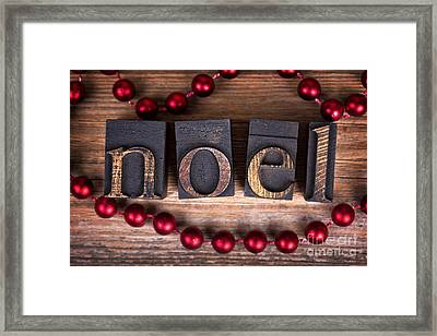 Noel Printer Blocks Framed Print by Jane Rix