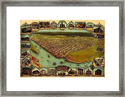 Noes Map Of Eureka California 1902 Framed Print by MotionAge Designs