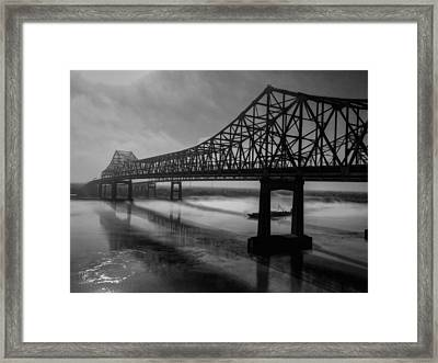Nola - Morning Fog At The Crescent City Connection Framed Print by Lance Vaughn