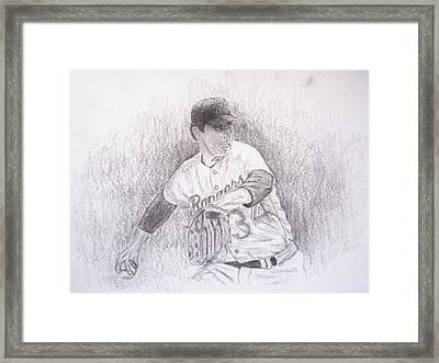 Nolan Ryan About To Pitch Framed Print by Michael Penny