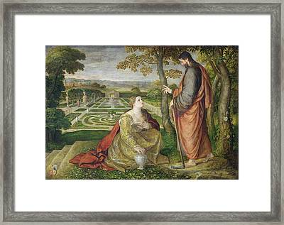 Noli Me Tangere Oil On Canvas Framed Print by Lambert Sustris