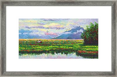 Nomad - Alaska Landscape With Joe Redington's Boat In Knik Alaska Framed Print by Talya Johnson